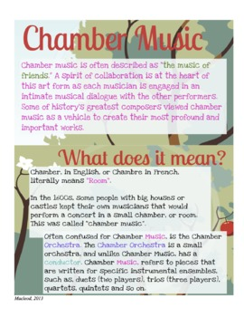 Chamber Music Ensembles History & Skills Handout, Orchestr