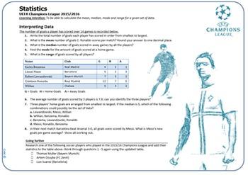 Mean Median Mode Soccer