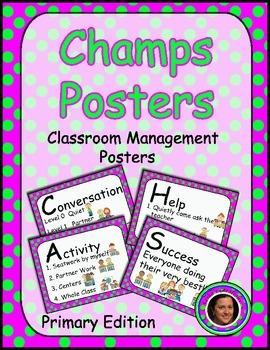 Champs Posters Pink & Green Polka Dot Theme