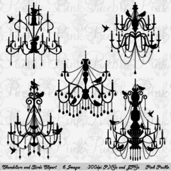 Chandelier with Birds Silhouettes Clip Art - Commercial an