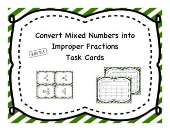 Change Mixed Number to Improper Fraction Task Cards