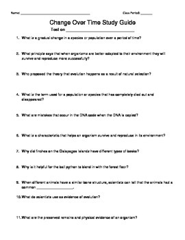 Change Over Time/Evolution Study Guide