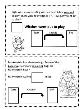 Change To Less Halloween Math Book - Everyday Math