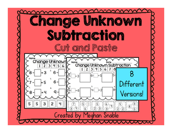 Change Unknown Subtraction- Cut & Paste- Engage New York S