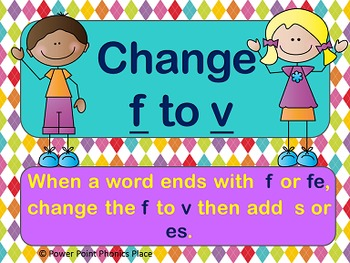 Change f to v to Make Words Plural PowerPoint and Printables