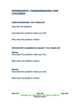 Changemaking for Children Worksheet