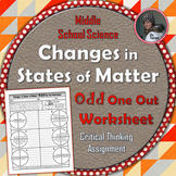 Changes in States of Matter Odd One Out Worksheet