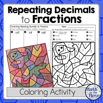 Changing Repeating Decimals into Fractions - Coloring Activity