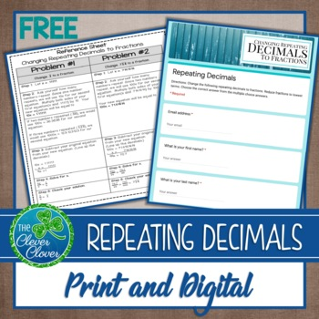 Changing Repeating Decimals to Fractions - 8.NS.1 - Freebie