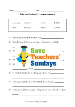 Changing electrical circuits Lesson plan and Worksheet (to