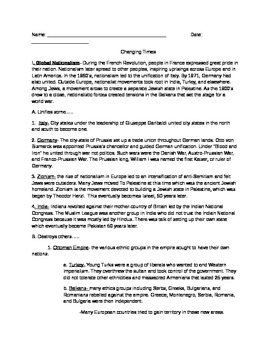 Changing times in modern world history- reading/outline/no