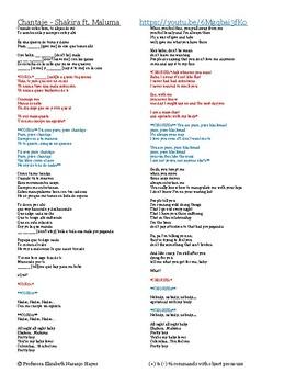Chantaje - Shakira Ft. Maluma - (+) and (-) tú commands wi