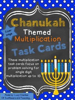 Chanukah Themed Multiplication Problem Solving TASK CARDS!