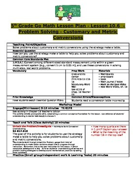 Chapter 10 Lesson 6 Grade 5 Go Math Lesson Plan