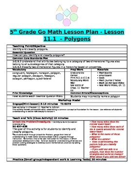 Chapter 11 Lesson 1 Grade 5 Go Math Lesson Plan