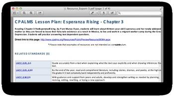 Chapter 3 of Esperanza Rising