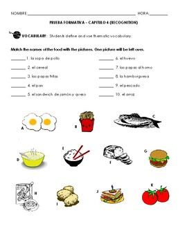 Chapter 4 Vocab Quiz (food & drink)