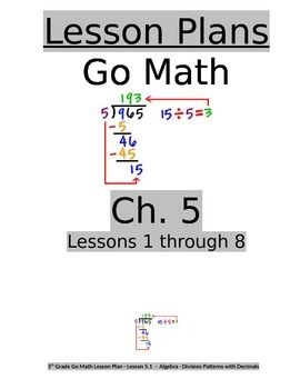 Chapter 5 Lessons 1-8 Bundled Go Math Lesson Plans