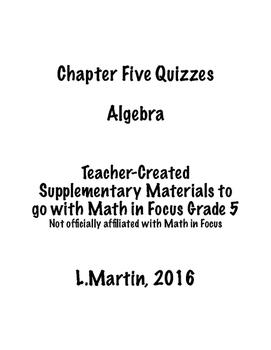 Chapter 5 Quizzes - Algebra