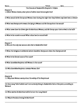 Chapter 6-10 Quiz/ Test for Hounds of Baskerville