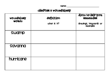 Chapter 6 Vocabulary Chart Social Studies Alive! Grade 4