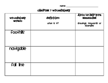 Chapter 7 Vocabulary Chart Social Studies Alive! Grade 4