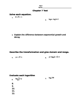 Chapter 7 test over exponential and logarithmic functions