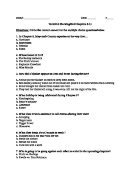 To Kill A Mockingbird Chapter 8-11 Quiz