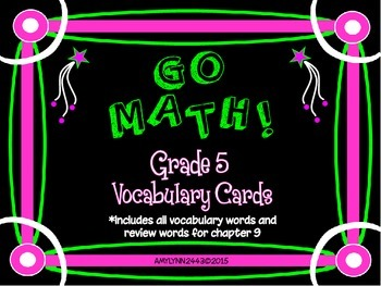 5th Grade Go Math Vocabulary Cards- Chapter 9 (Freebie)