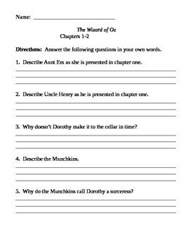 Chapter Questions - Wizard of Oz - L. Frank Baum
