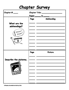 Chapter Survey Pre-Reading Graphic Organizer for Informati