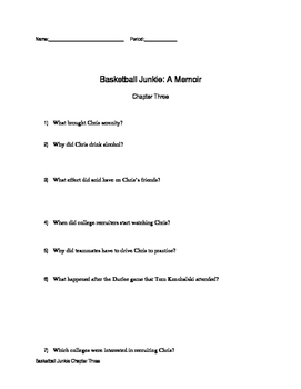 Chapter Three Questions Basketball Junkie By: Chris Herren