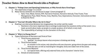 Chapter-by-Chapter Outline How to Read Novels Like a Profe