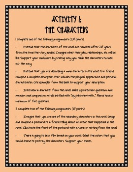 Character Activity for ANY Novel