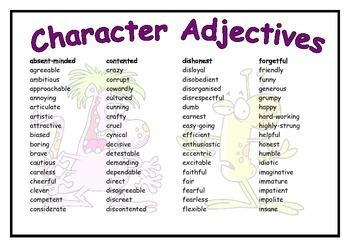 Character Adjectives Mat