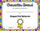 Character Award Certificates FREEBIE