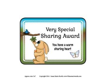 Character Award - Very Special Sharing Award - Free