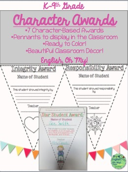 Awards-Character Education-Pennants, Ready to Color! Print