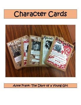 Character Cards: Anne Frank The Diary of a Young Girl
