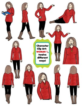 Character Clip Art: Adult Woman 1 (Teacher/Mom), 12 differ
