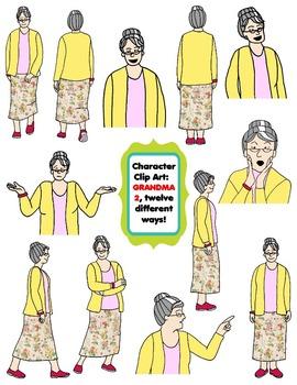 Character Clip Art: Adult Woman 4 (Teacher/Grandma), 12 di
