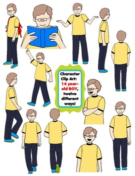 Character Clip Art: Fourteen Year-Old BOY, 12 different Wa