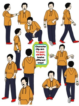 Character Clip Art: Sixteen Year-Old BOY, 12 different Way