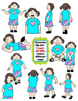 Character Clip Art:  Three Year-Old Girl, 12 different Way