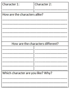 Character Compare/Contrast Organizer