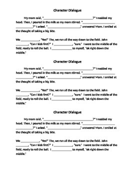 Character Dialogue Clozed Paragraph