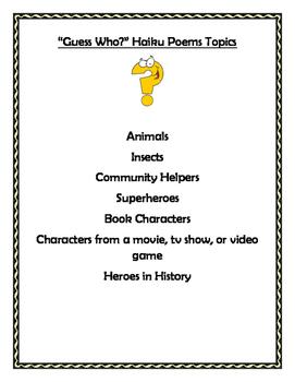 Guess Who? Haiku booklet