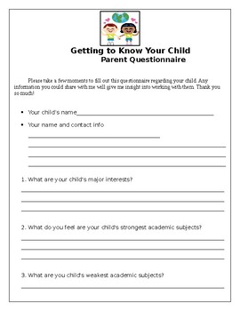 Back to School Night Parent Questionnaire