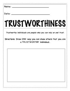 Character Education: Trustworthy Worksheet