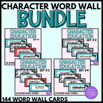 Character Education Word Wall Cards BUNDLED-144 words